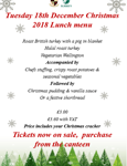 Christmas Lunch Menu 18th December